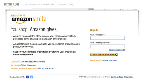 Sign into Amazon Smile